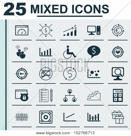 Set Of 25 Universal Editable Icons For Traveling, Hr And Computer Hardware Topics. Includes Icons Su