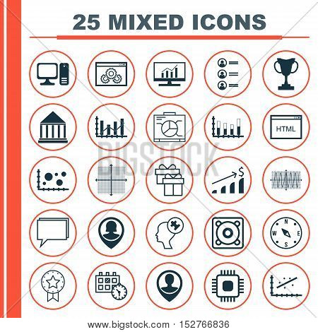 Set Of 25 Universal Editable Icons For Management, Project Management And School Topics. Includes Ic