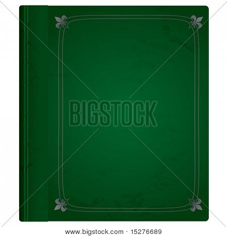 Green and silver leather bound hard backed background