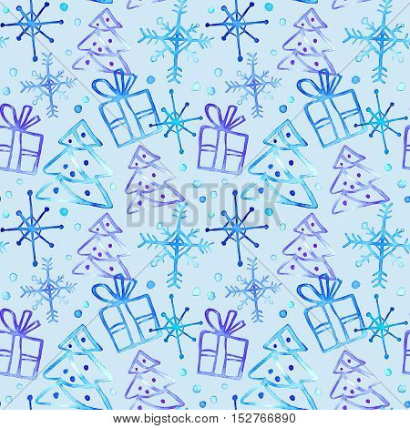 Seamless pattern with gift box,Christmas tree and snowflake.Sketch.Watercolor hand drawn illustration.Blue background.