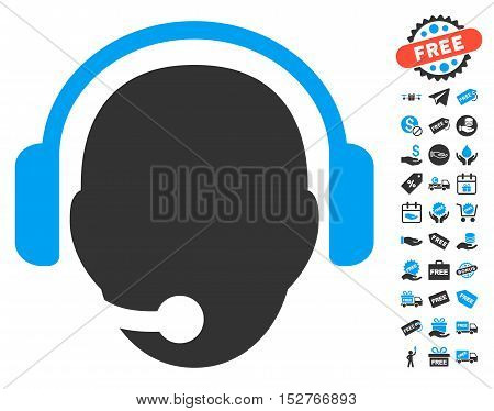 Operator Head icon with free bonus pictograph collection. Vector illustration style is flat iconic symbols, blue and gray colors, white background.