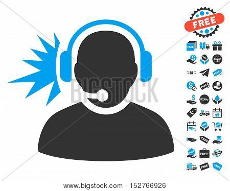 Operator Headphones Signal pictograph with free bonus pictograph collection. Vector illustration style is flat iconic symbols, blue and gray colors, white background.