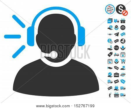 Operator Message icon with free bonus icon set. Vector illustration style is flat iconic symbols, blue and gray colors, white background.
