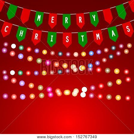 Christmas card with decorations of flags and garlands with light bulbs