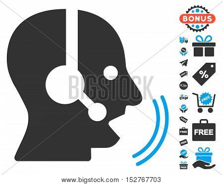 Operator Speech pictograph with free bonus graphic icons. Vector illustration style is flat iconic symbols, blue and gray colors, white background.
