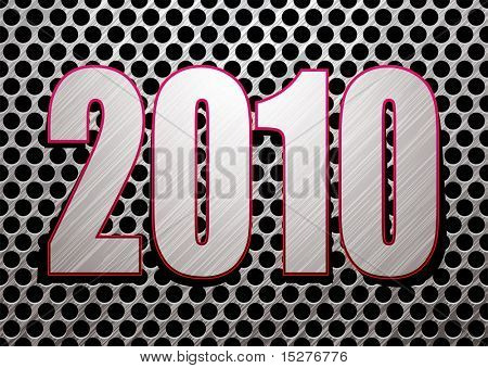 Silver brushed metal background with 2010 new year date