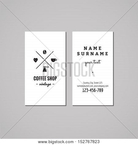 Coffee shop business card design concept. Logo with coffee bean heart cup and turk. Vintage hipster and retro style.