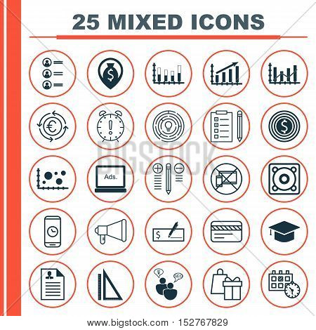 Set Of 25 Universal Editable Icons For Advertising, Transportation And Tourism Topics. Includes Icon