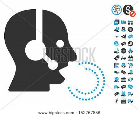 Operator Speech pictograph with free bonus symbols. Vector illustration style is flat iconic symbols, blue and gray colors, white background.