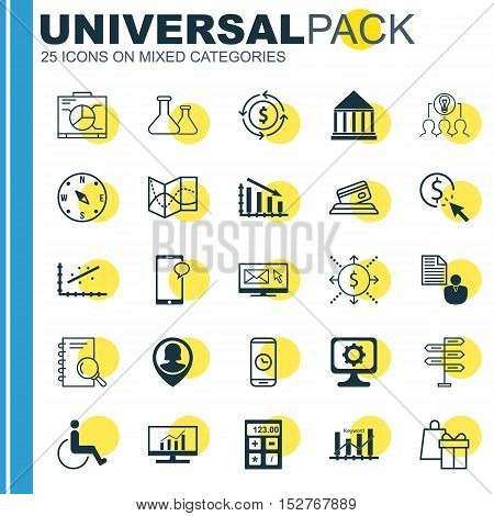 Set Of 25 Universal Editable Icons For Traveling, School And Education Topics. Includes Icons Such A