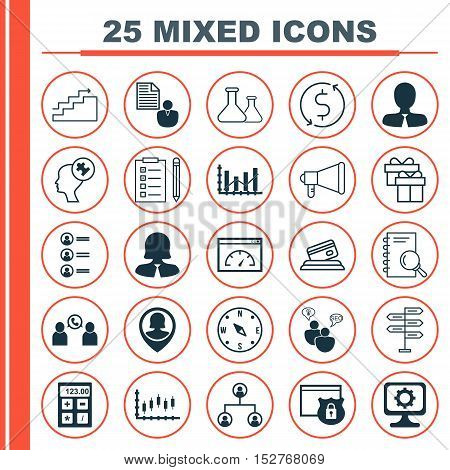 Set Of 25 Universal Editable Icons For Project Management, Education And Seo Topics. Includes Icons