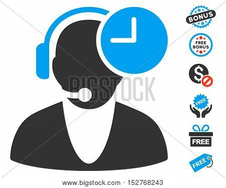 Operator Time icon with free bonus images. Vector illustration style is flat iconic symbols, blue and gray colors, white background.
