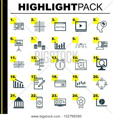 Set Of 25 Universal Editable Icons For Computer Hardware, Marketing And Travel Topics. Includes Icon
