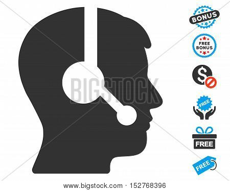 Operator pictograph with free bonus clip art. Vector illustration style is flat iconic symbols, blue and gray colors, white background.