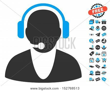Operator pictograph with free bonus graphic icons. Vector illustration style is flat iconic symbols, blue and gray colors, white background.