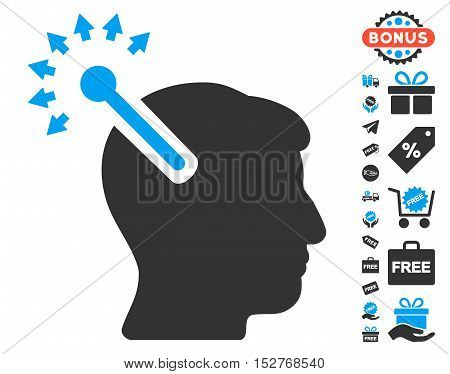 Optical Neural Interface icon with free bonus pictures. Vector illustration style is flat iconic symbols, blue and gray colors, white background.