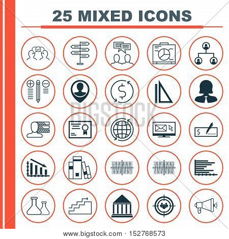 Set Of 25 Universal Editable Icons For Education, Business Management And Transportation Topics. Inc