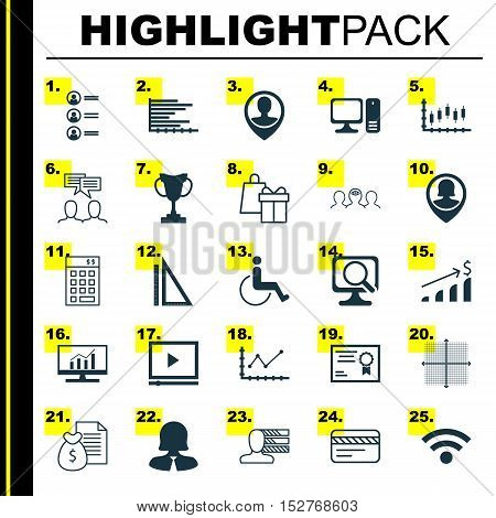 Set Of 25 Universal Editable Icons For Hr, Travel And Computer Hardware Topics. Includes Icons Such
