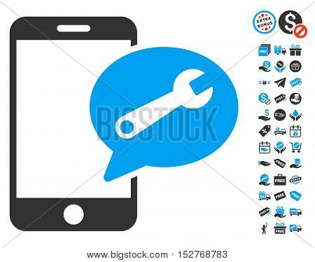 Phone Service SMS pictograph with free bonus design elements. Vector illustration style is flat iconic symbols, blue and gray colors, white background.