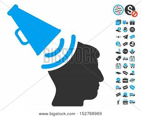 Propaganda Megaphone icon with free bonus design elements. Vector illustration style is flat iconic symbols, blue and gray colors, white background.