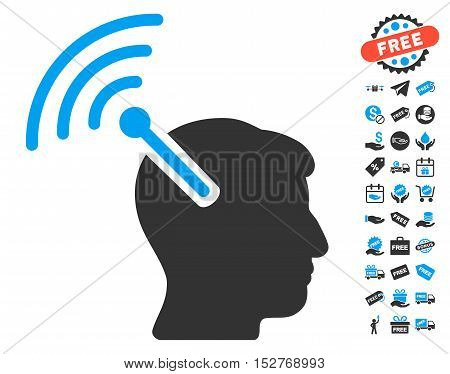 Radio Neural Interface icon with free bonus images. Vector illustration style is flat iconic symbols, blue and gray colors, white background.