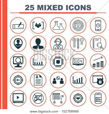 Set Of 25 Universal Editable Icons For Traveling, Statistics And Management Topics. Includes Icons S