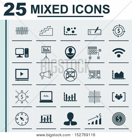 Set Of 25 Universal Editable Icons For Hr, Statistics And Management Topics. Includes Icons Such As