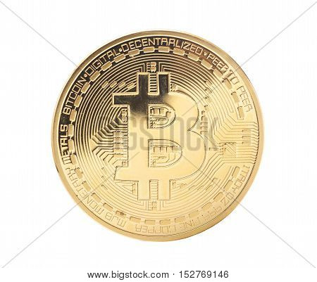 Golden Bitcoin coin isolated on a white
