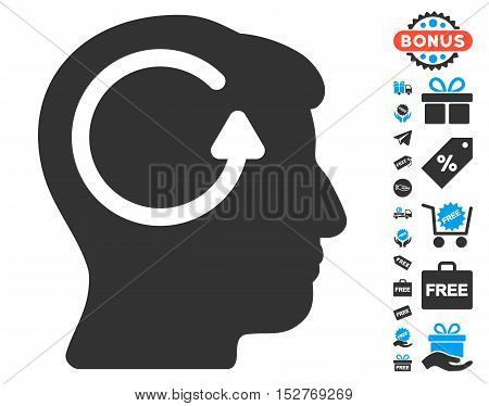Refresh Head Memory pictograph with free bonus icon set. Vector illustration style is flat iconic symbols, blue and gray colors, white background.