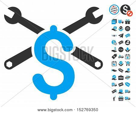 Repair Service Price pictograph with free bonus pictograms. Vector illustration style is flat iconic symbols, blue and gray colors, white background.