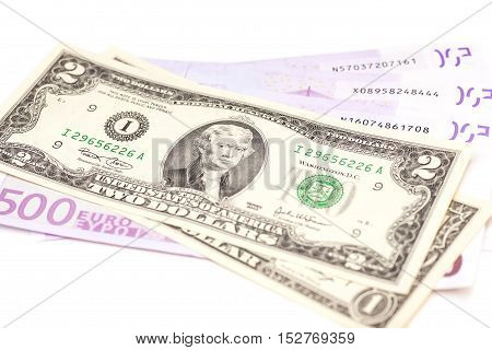 dollar and euro money isolated on white