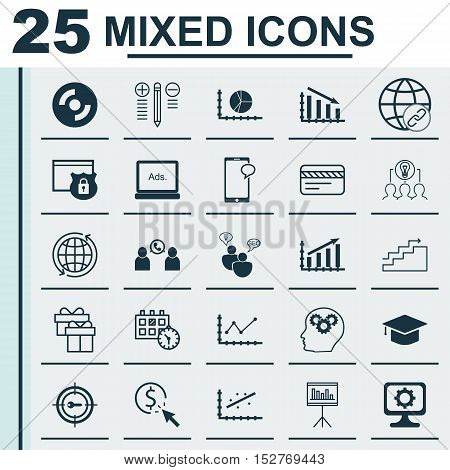 Set Of 25 Universal Editable Icons For Project Management, Marketing And School Topics. Includes Ico