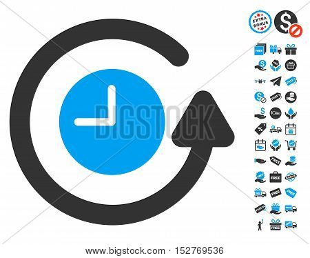 Restore Clock icon with free bonus images. Vector illustration style is flat iconic symbols, blue and gray colors, white background.