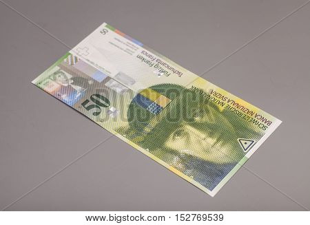 50 Swiss francs currency of switzerland isolated on gray