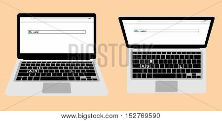 view from above and side of laptop with opened browser to search sale