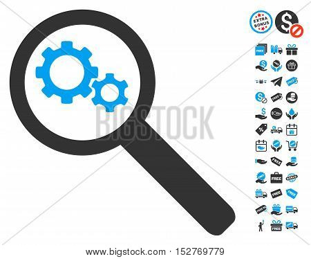 Search Gears Tool pictograph with free bonus design elements. Vector illustration style is flat iconic symbols, blue and gray colors, white background.