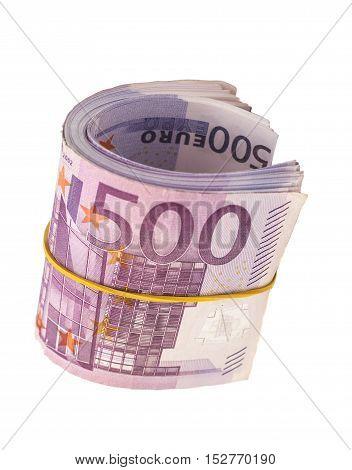 five hundredth banknotes under rubber band on white