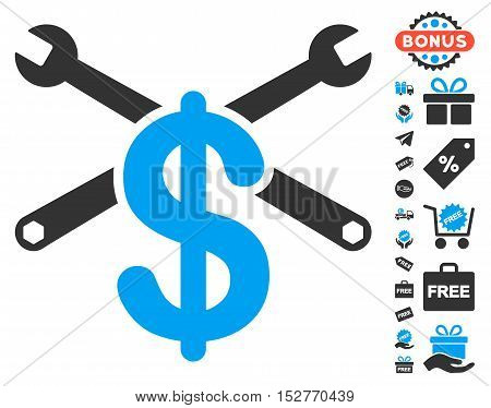 Service Price icon with free bonus pictograph collection. Vector illustration style is flat iconic symbols, blue and gray colors, white background.