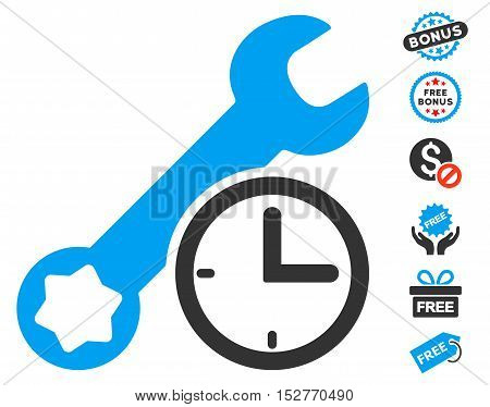 Service Time icon with free bonus images. Vector illustration style is flat iconic symbols, blue and gray colors, white background.