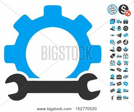 Service Tools icon with free bonus graphic icons. Vector illustration style is flat iconic symbols, blue and gray colors, white background.