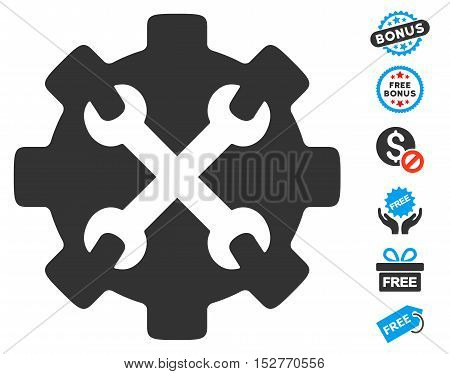 Service Tools icon with free bonus symbols. Vector illustration style is flat iconic symbols, blue and gray colors, white background.