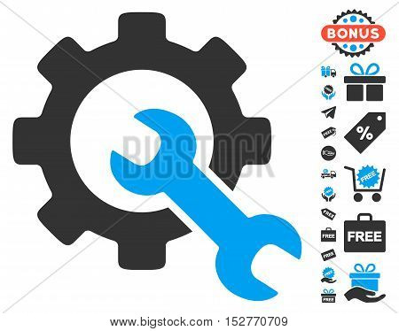 Service Tools icon with free bonus images. Vector illustration style is flat iconic symbols, blue and gray colors, white background.
