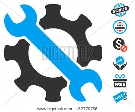 Service Tools pictograph with free bonus pictograms. Vector illustration style is flat iconic symbols, blue and gray colors, white background.