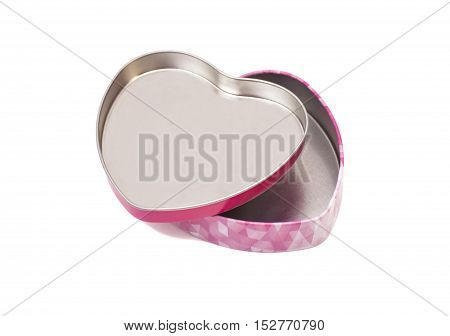 Open metal box in shape of heart isolated