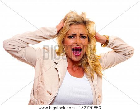 attractive blond woman is very upset and shouting