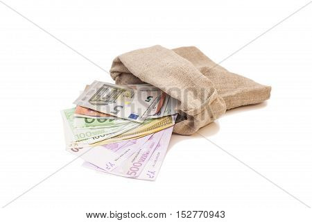 money bag with different euro bills isolated