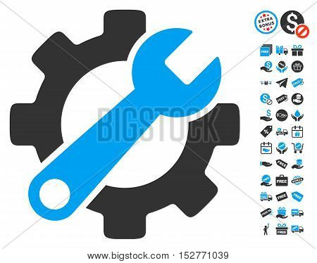 Service Tools icon with free bonus clip art. Vector illustration style is flat iconic symbols, blue and gray colors, white background.