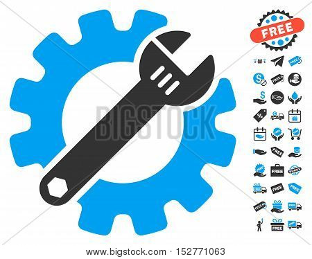 Service Tools pictograph with free bonus clip art. Vector illustration style is flat iconic symbols, blue and gray colors, white background.