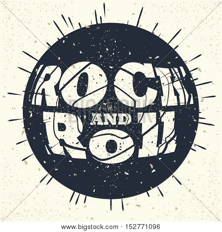 Rock music print, hipster vintage label, graphic design with grunge effect, tee print stamp. t-shirt lettering artwork, Vector illustration in flat style isolated from the background