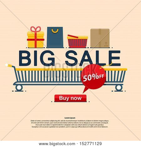 Big sale icons, buy now discount, Vector illustration in flat, cartoon style isolated from the background